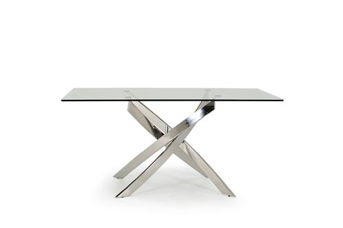 Kalmar Contemporary Glass Chrome Rectangular Dining Table