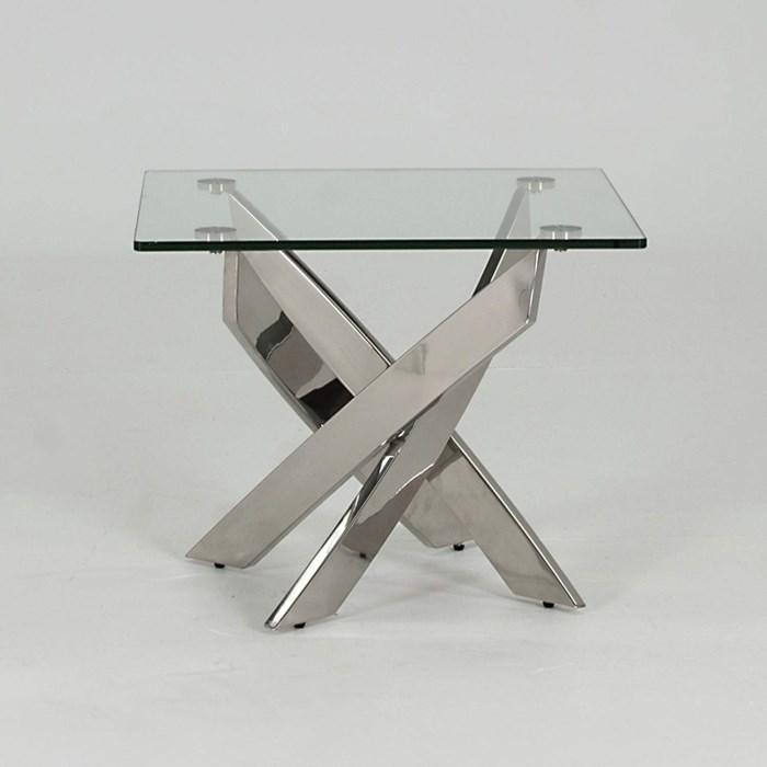 Kalmar Square Glass Chrome End Table