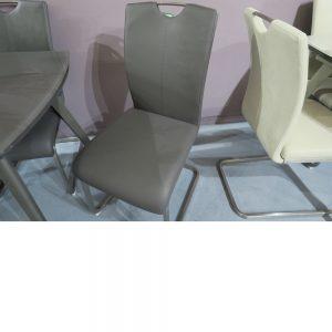 Vida Living Lazzaro Grey Dining Chair Chrome Handle - Pair