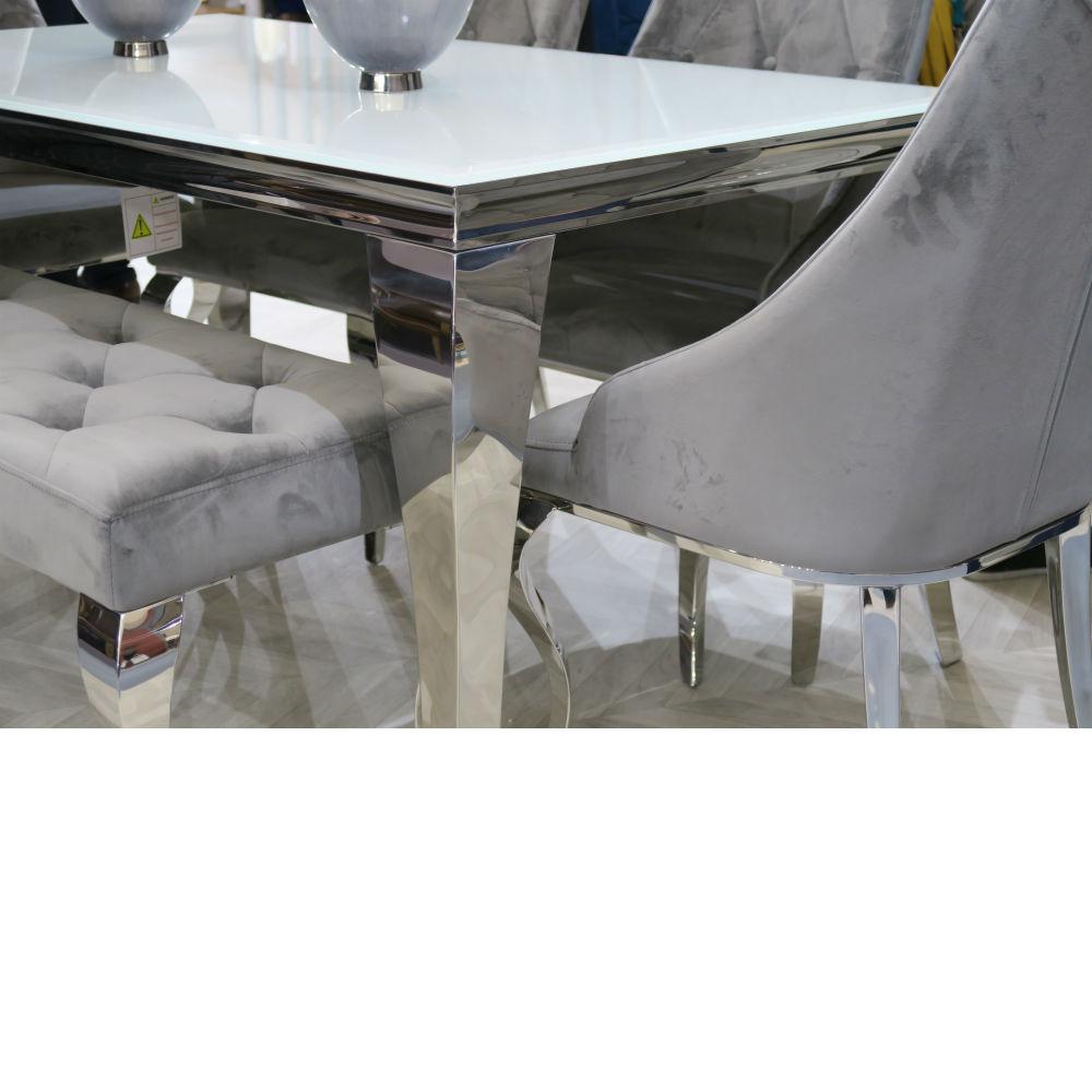 Louis Silver Velvet 170cm Bench Only