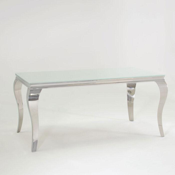 Carla Contemporary White Glass Chrome Dining Table 200cm