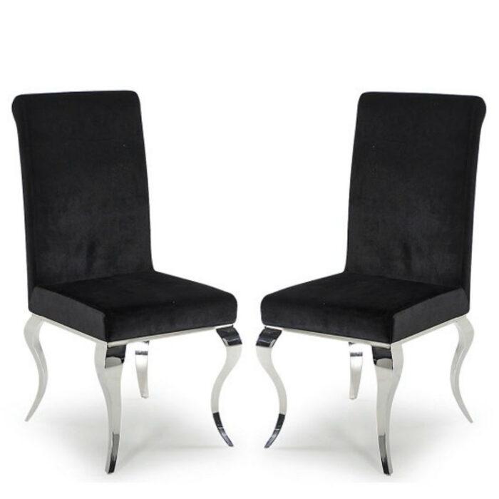 Louis pair of Luxury Velvet Chrome Leg Black Dining Chairs