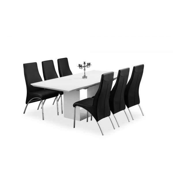 Soho white Glass Dining Table Set