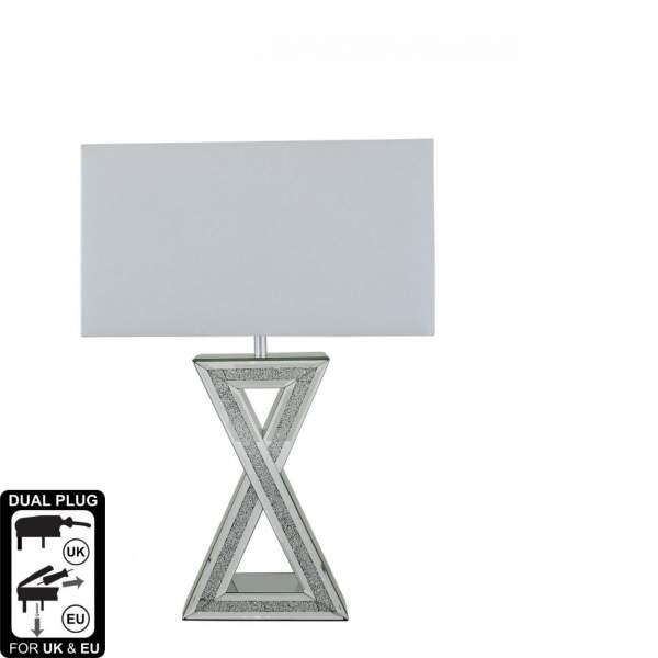 Milo Sparkle Mirror Crystal Sparkle Table Lamp White Shade