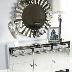 Milo Sparkle Mirror 3 Drawer 3 Door Crystal Sparkle Sideboard