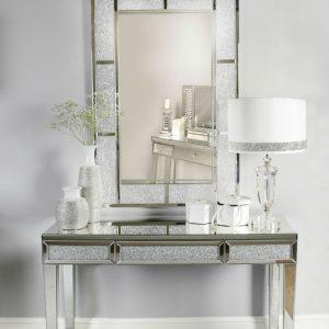 Milo Sparkle Mirror Bricks Crystal Sparkle Hall Console Table