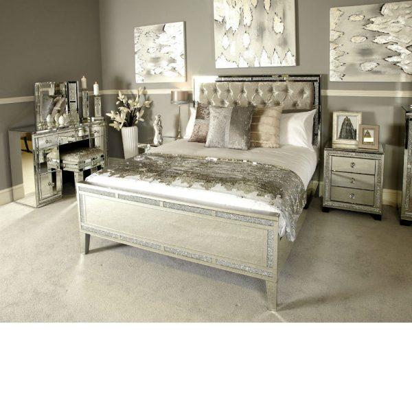 Milo Sparkle Mirror King Size Bed Frame