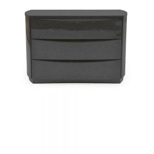 Movada Grey High Gloss Wood Dresser Chest - 3 Drawer