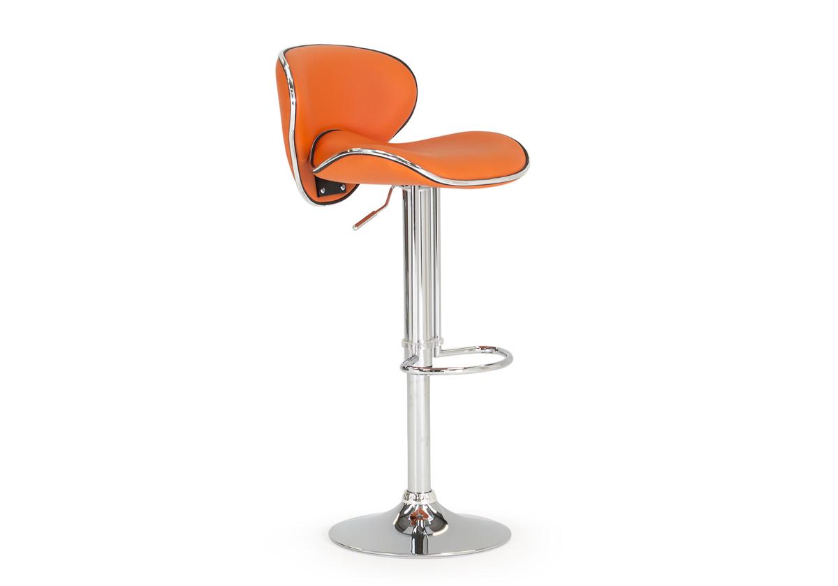 Nigella Modern Adjustable Faux Leather Barstool Orange