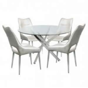 Corsica 130cm White Round Dining Set