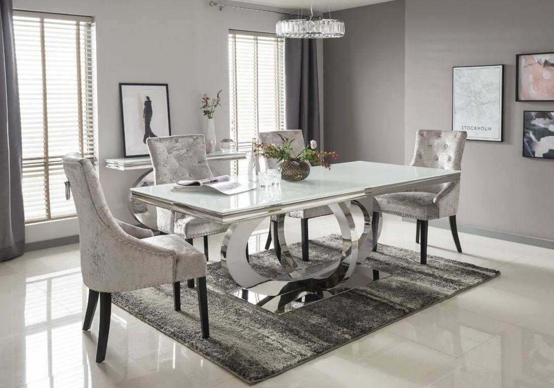 Athena Rectangular Dining Table with circular polished steel base 180cm