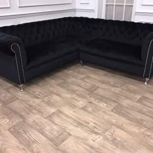 Chesterfield Style Black Velvet Corner Sofa