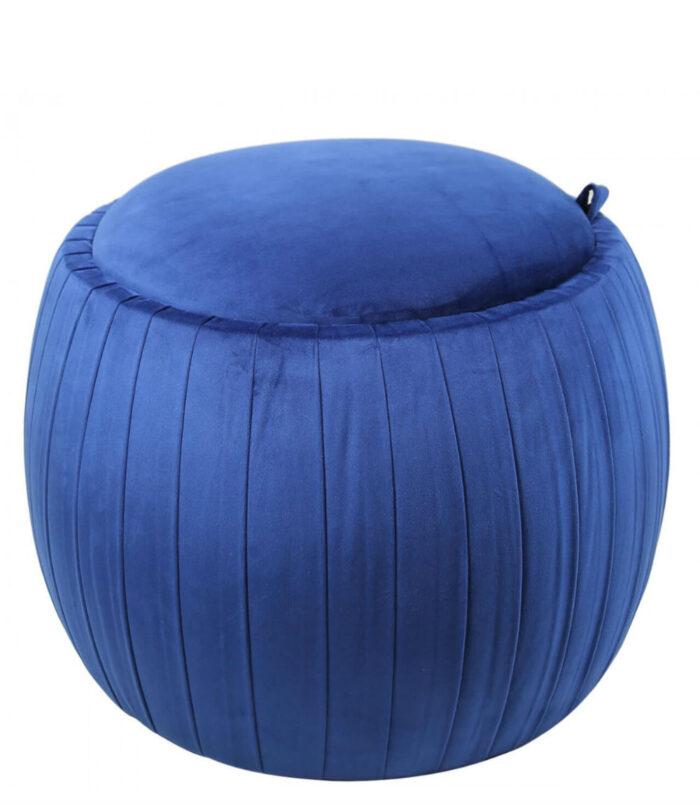 Round Plush Fabric Velvet Storage Stool