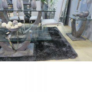 Sahara Glass Grey Stone effect Coffee Table