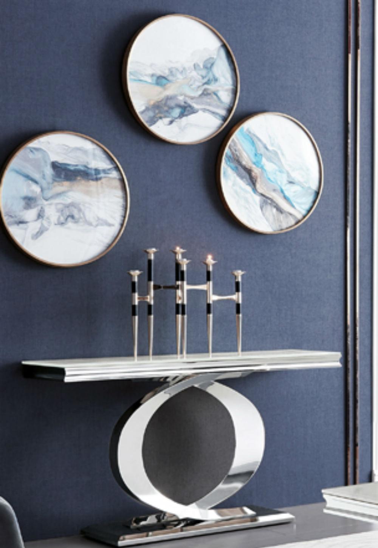 Vida Living Selene Bone White Marble Stainless Steel Console Table