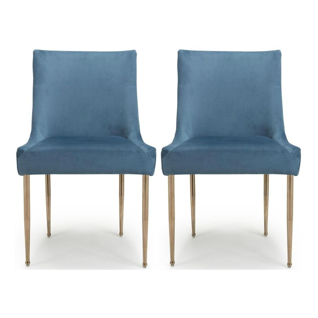 Shankar Earl Caribbean Blue Brushed Velvet Accent Dining Chair Pair