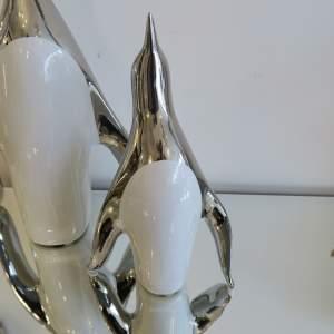 Silver And White Ceramic Penguin