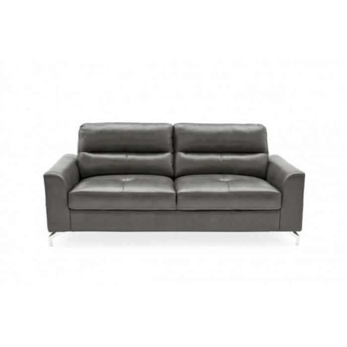 Tanaro Grey 3 Seater Leather Fabric Sofa With Chrome Legs