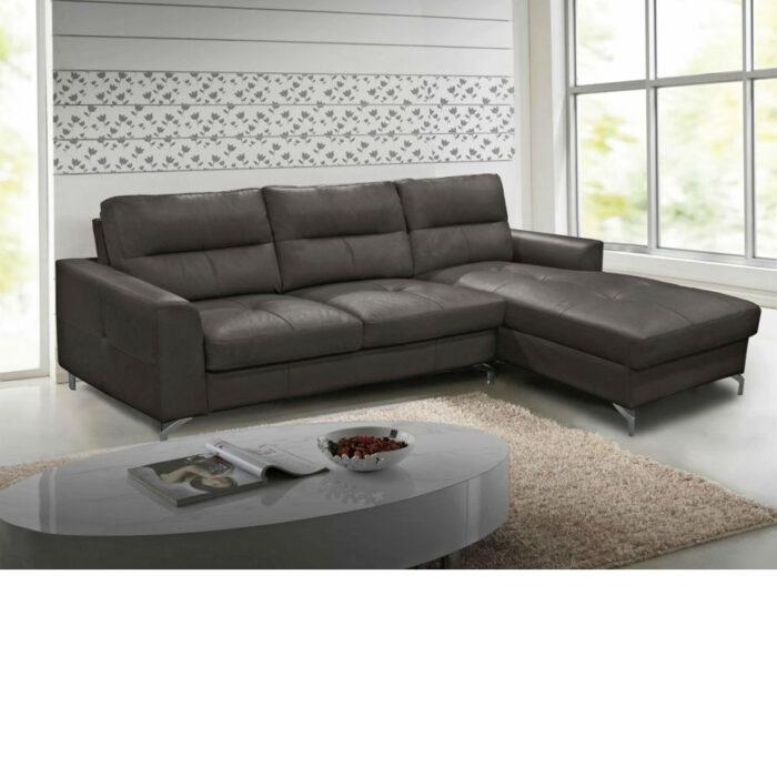 Tanaro Grey Leather Fabric Corner Group Sofa With Chrome Legs - Right