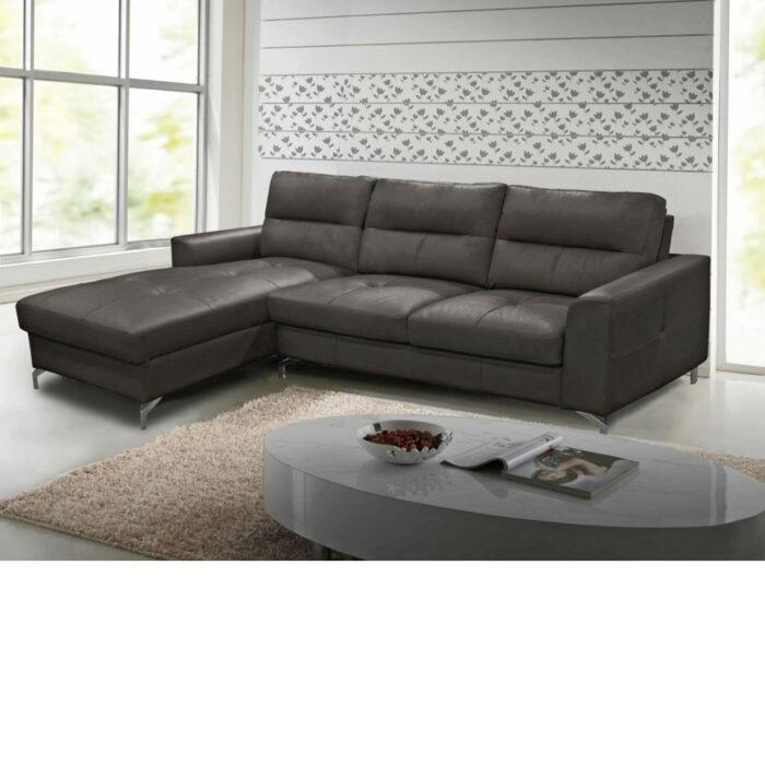 Tanaro Grey Leather Fabric Corner Group Sofa With Chrome Legs - Left