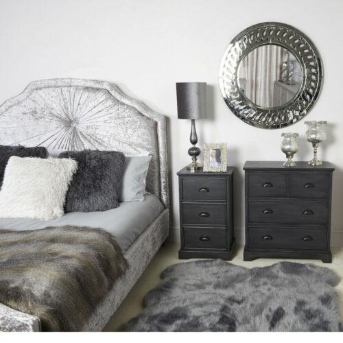 Value Grey Philly 3 Drawer Bedside Cabinet
