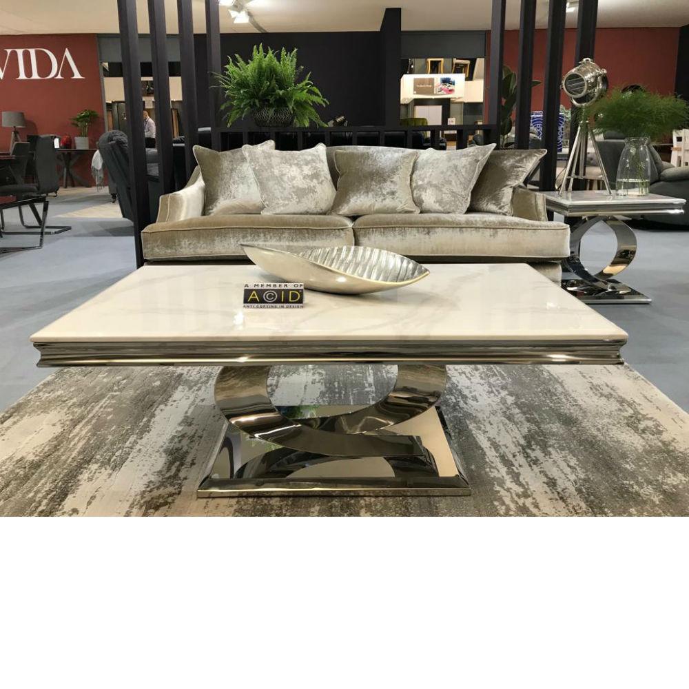 Vida Living Selene Bone White Marble Stainless Steel Coffee Table