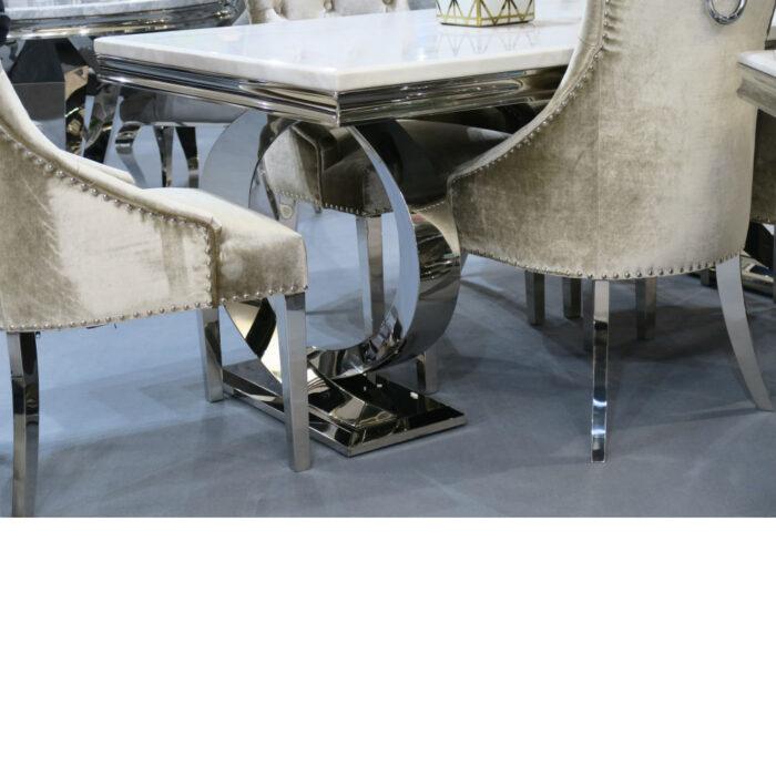 Vida Living Selene Bone White Marble Stainless Steel Dining Table - 2000