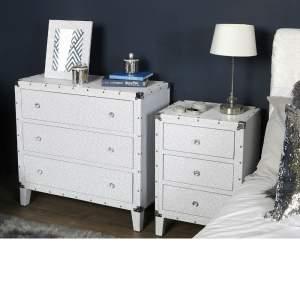 Alexa White Glitter Sparkle Crystal Large Bedside Cabinet
