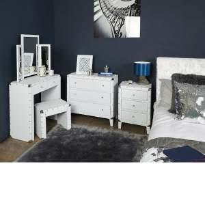 Alexa White Glitter Sparkle Crystal Medium Bedside Cabinet
