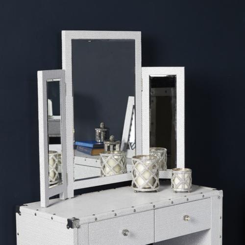 Alexa White Glitter Sparkle Crystal Vanity Mirror