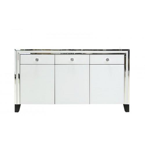 White Glass Mirrored 3 Drawer 3 Door Cabinet CIMC