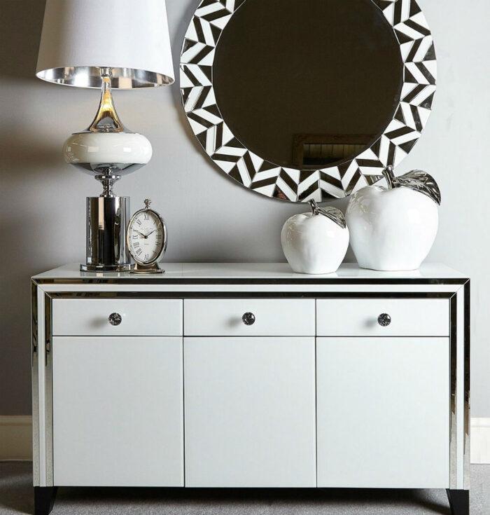 Harper White Glass Mirrored 3 Drawer 3 Door Cabinet