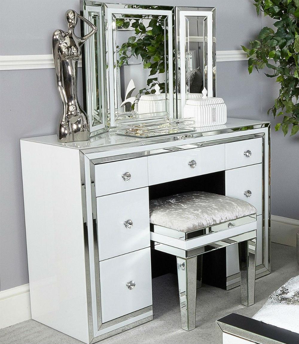 Harper White Glass Mirrored 7 Drawer Dressing Table
