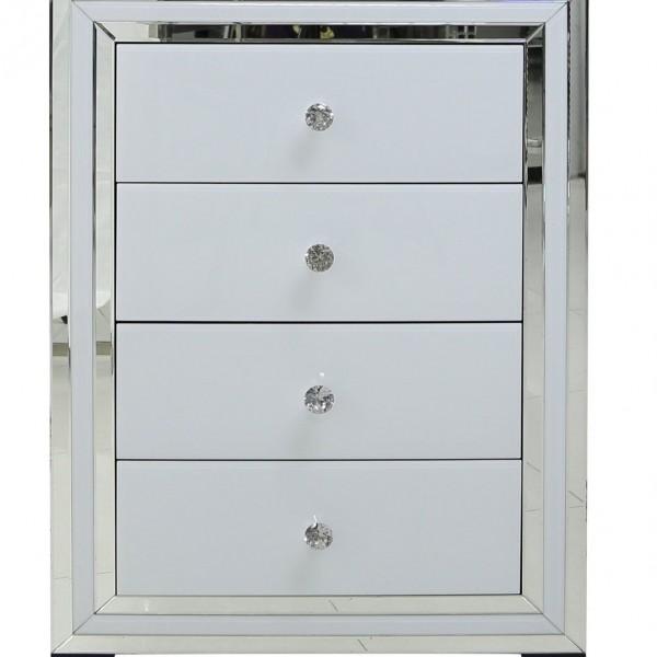 white glass mirrored four drawer chest nicholas john