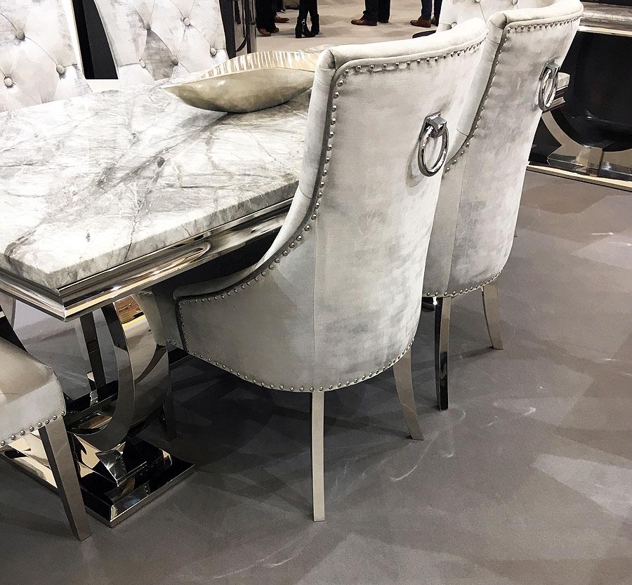 Arianna Grey Marble Table Inc Four Chairs With Chrome Legs