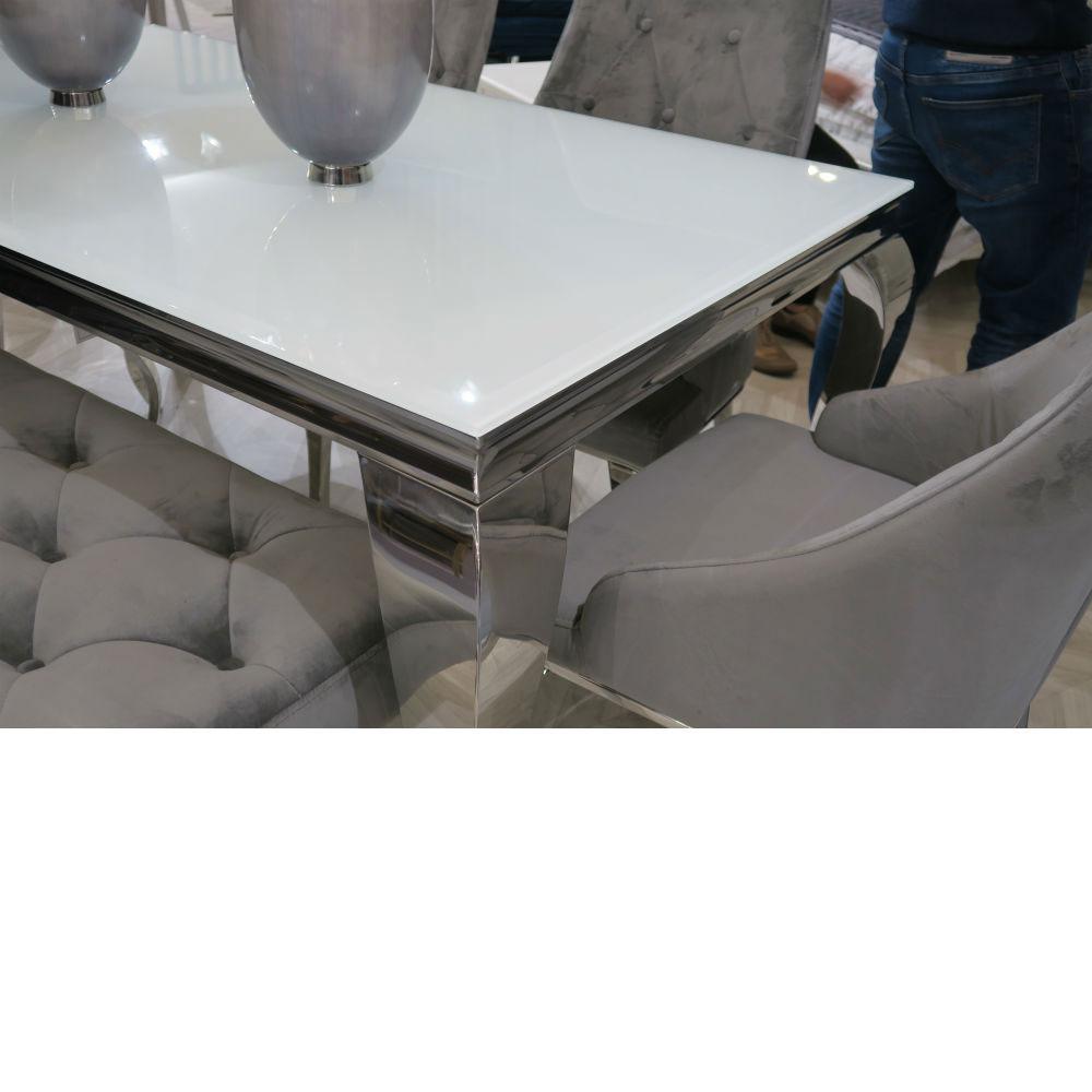 Louis 200 cm White Glass Dining Table Inc 4 Cassia Velvet Chairs and Louis Velvet Bench