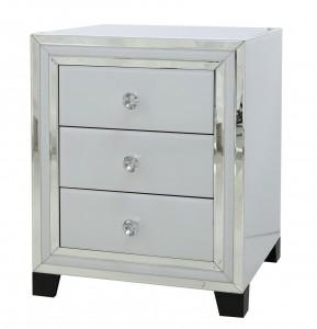 White Glass mirrored three drawer